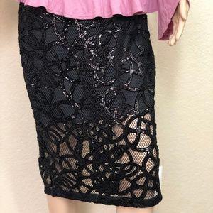 Express Sequin Pencil Black Skirt